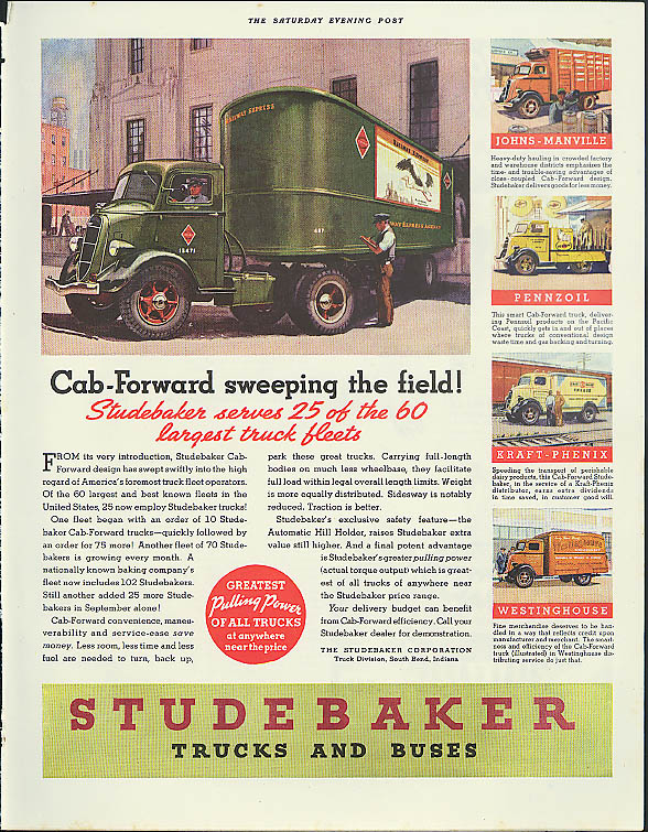 Cab-Forward sweeping the field! Studebaker truck ad 1936 Kraft Westinghouse