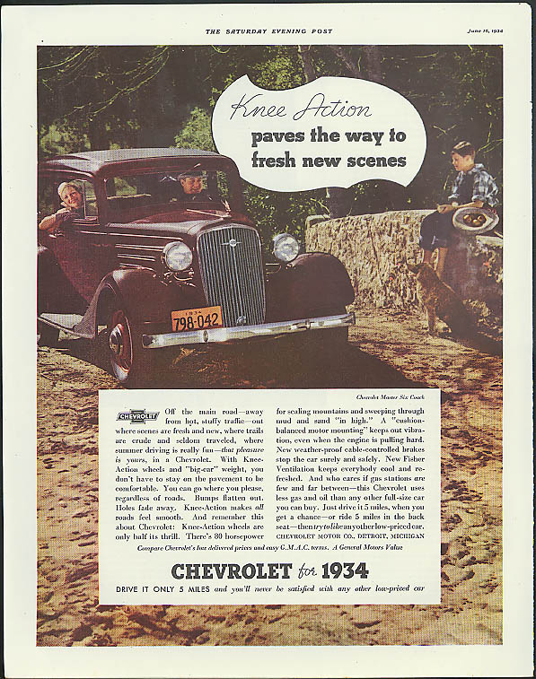 Knee Action paves the way to fresh new scenes Chevrolet ad 1934