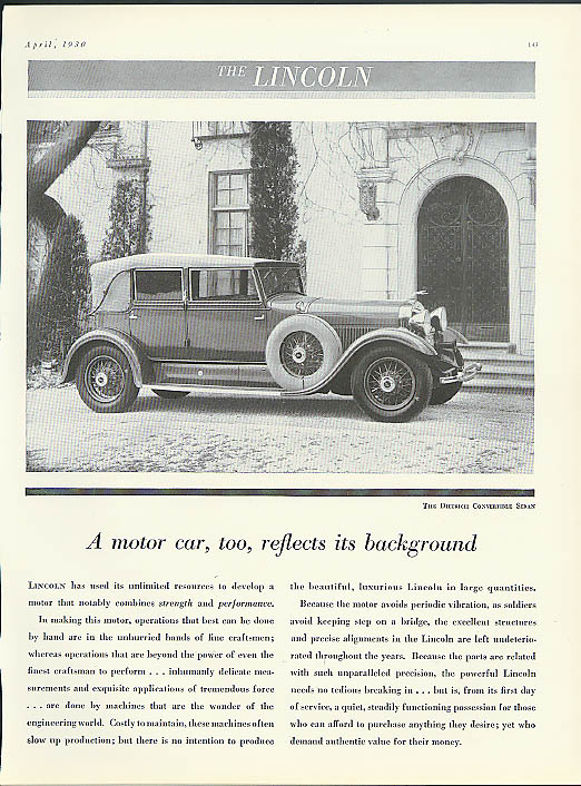 A motor car reflects its background Lincoln Dietrich Convertible Sedan ad 1930