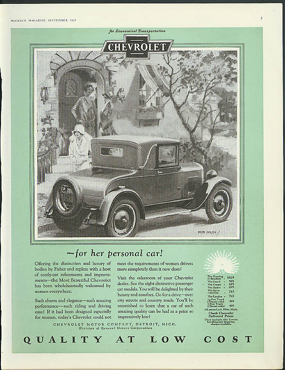 For her personal car Chevrolet Landau Coupe ad 1927