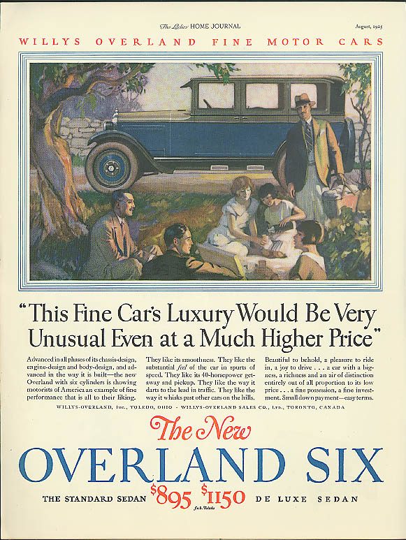Luxury very unusual at a Much Higher Price Overland Six ad 1925