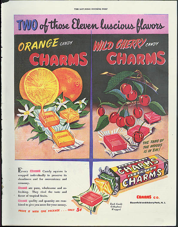 Two of those Eleven luscious flavors Orange & Wild Cherry Charms ad 1946
