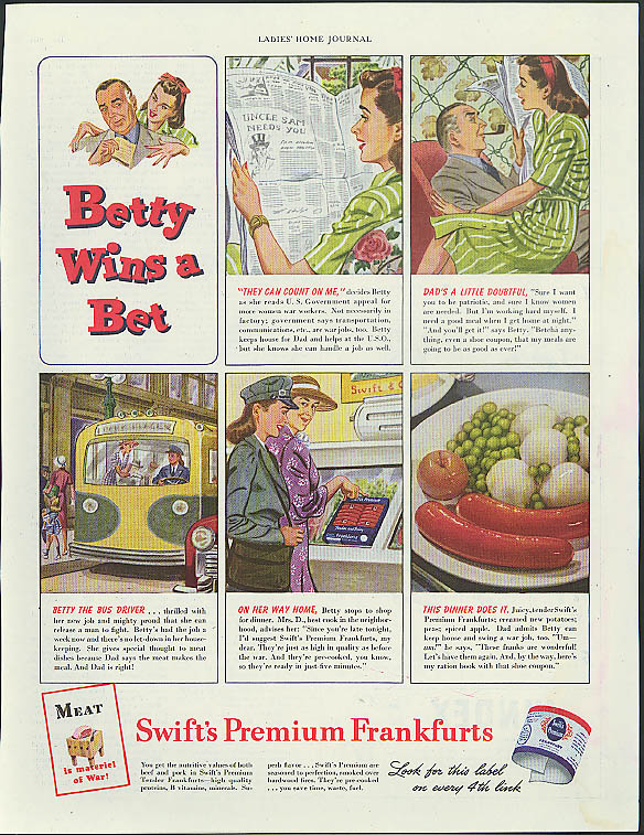 Betty Wins a Bet Swift's Premium Frankfurts ad 1944 hot dog frankfurter