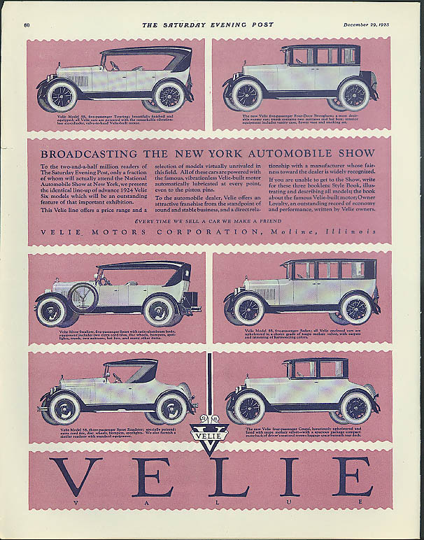Broadcasting the New York Automobile Show Velie Motors ad 1924