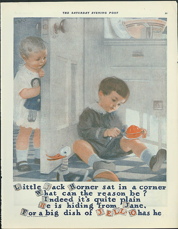 Little Jack Horner sat in a corner Jell-O ad 1923 L Ball art