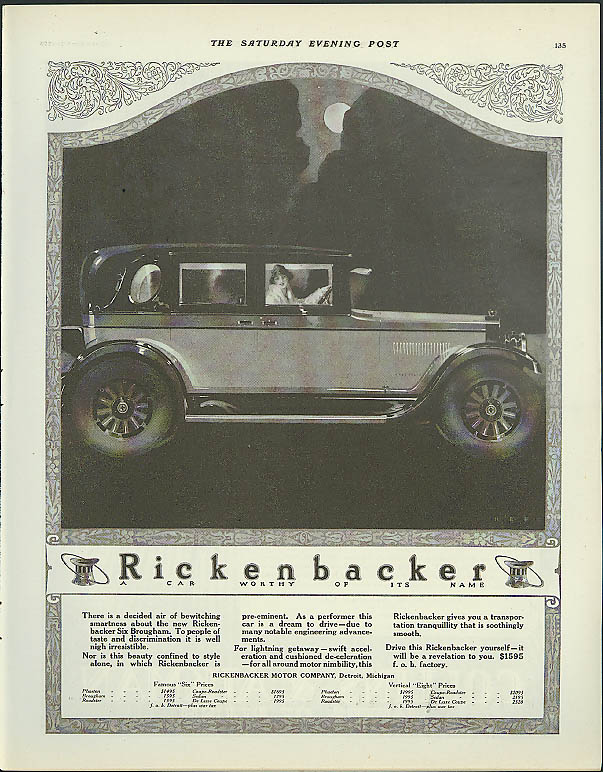 A decided air of bewitching smartness Rickenbacker Six Brougham ad 1925 1926