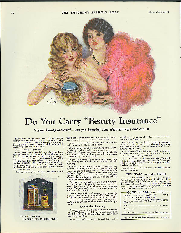 Do You Carry Beauty Insurance? R L Watkins Cosmetics ad 1925 Earl Christy art
