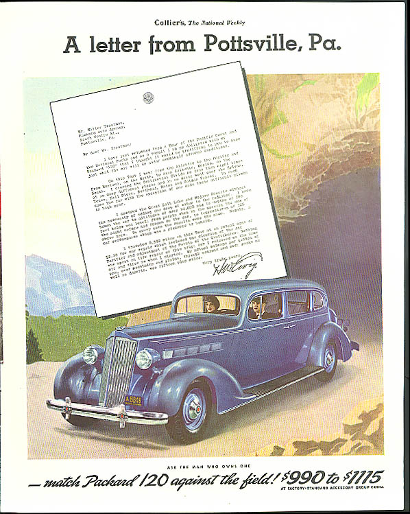 A letter from Pottsville Pa. Packard 120 ad 1936 Collier's