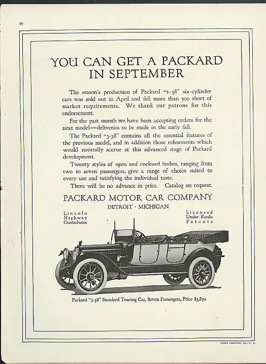 You can get a Packard in September ad 1914
