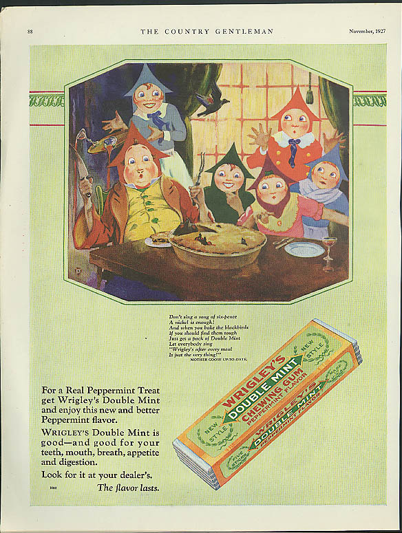 Sing a song of sixpence Wrigley's Double Mint Chewing Gum ad 1927