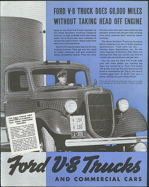 68,000 miles without taking head off engine Ford V-8 Truck ad 1936