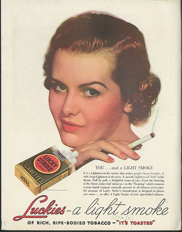 Spotlight cars Studebaker / You & a Light Smoke Lucky Strike cigarettes ad 1937