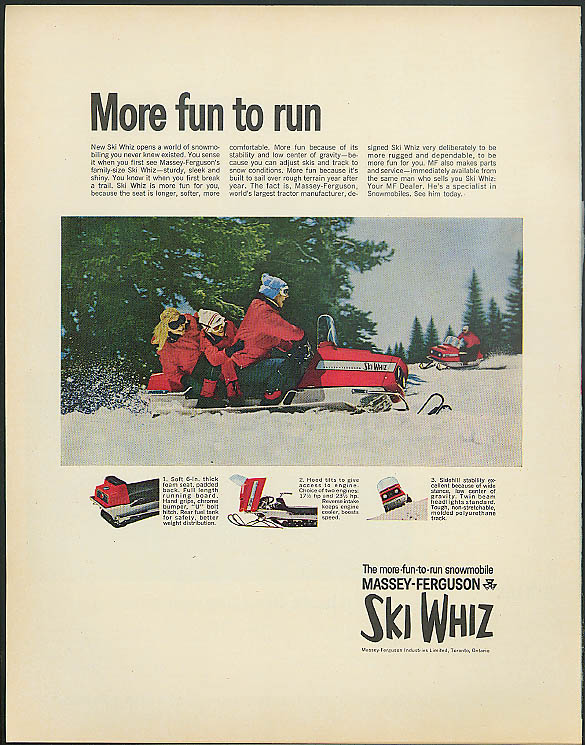 More fun to run Massey-Ferguson Ski Whiz Snowmobile ad 1968