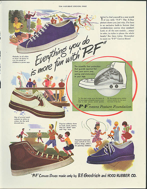 Everything you do is more fun with P-F Canvas Shoes Goodrich Hood Rubber ad 1947