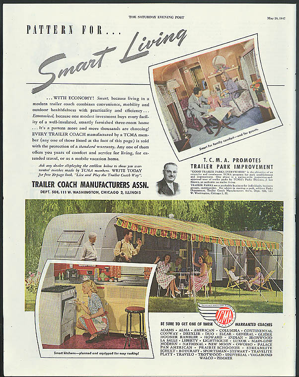 Pattern for Smart Living Trailer Coach Manufacturers Association ad 1947