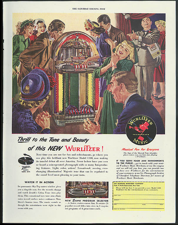 Thrill to the Tone & Beauty of this new Wurlitzer Jukebox ad 1947