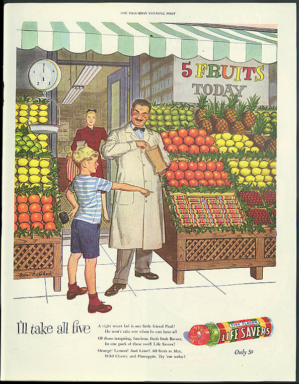 I'll take all five Life Savers Candy ad 1947 fruit stand boy