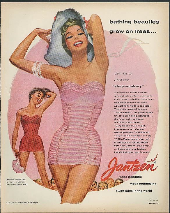 Bathing beauties grow on trees Jantzen swimsuits ad 1955 Look