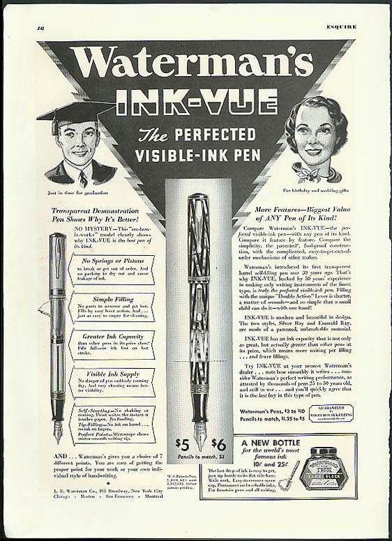 Waterman's Ink-Vue the Perfected Visible-Ink Pen ad 1936