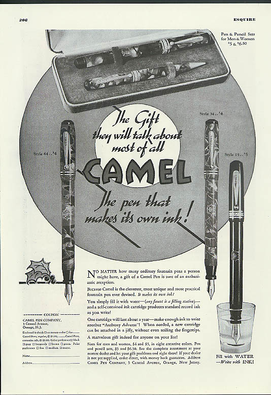 The Gift they will talk about most of all Camel Fountain Pen ad 1936