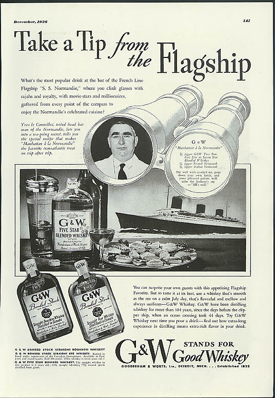 Take a Tip from the Flagship G&W Whiskey ad 1936 S S Normandie