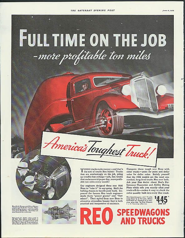 Full time on the job - more profitable ton miles Reo Speedwagon Truck ad 1936