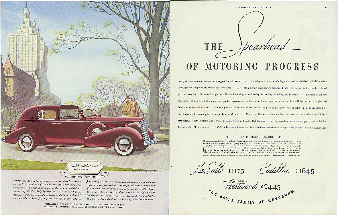 Spearhead of Motoring Progress Cadillac Fleetwood Town Cabriolet ad 1936