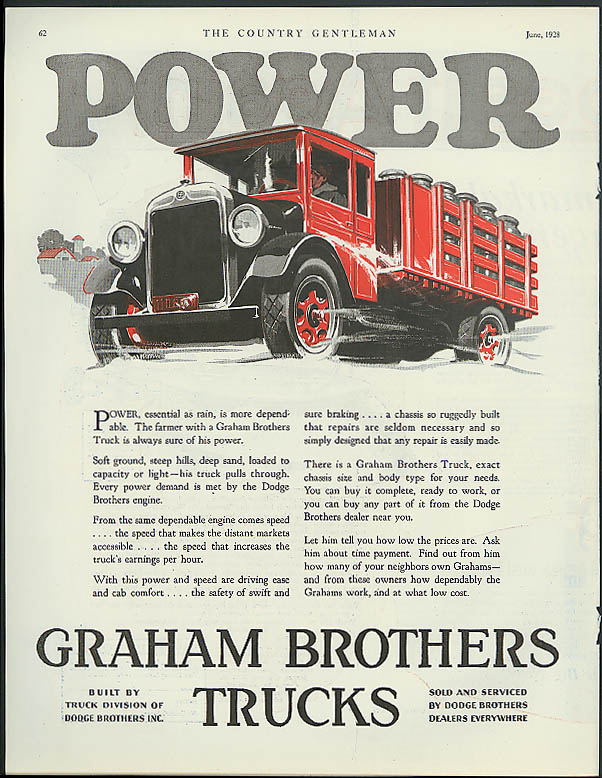 Power essential as rain is more dependable Graham Brothers Truck ad 1928