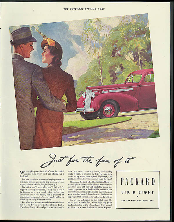 Image for Just for the fun of it Packard Six or Eight ad 1938