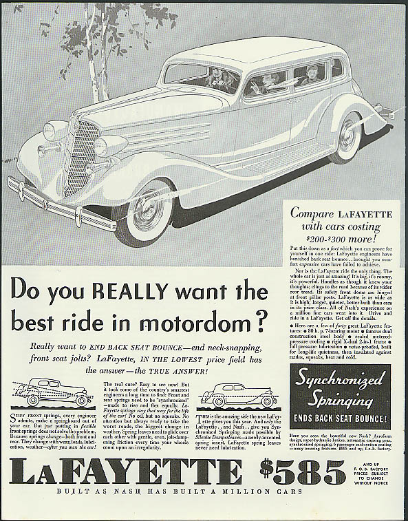 Do you really want the best ride in motordom? Lafayette by Nash ad 1935