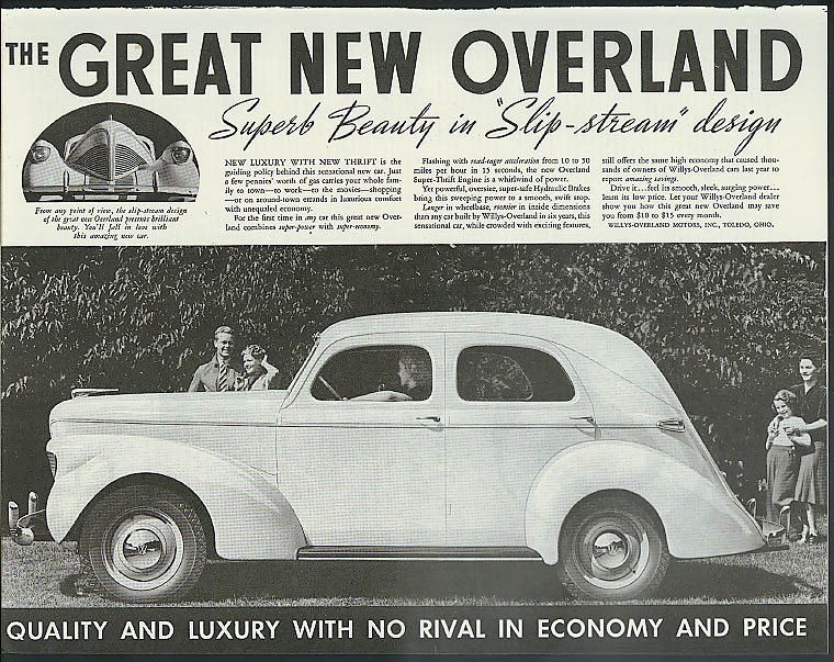 Great New Overland Superb Beauty Slip-stream design ad 1939