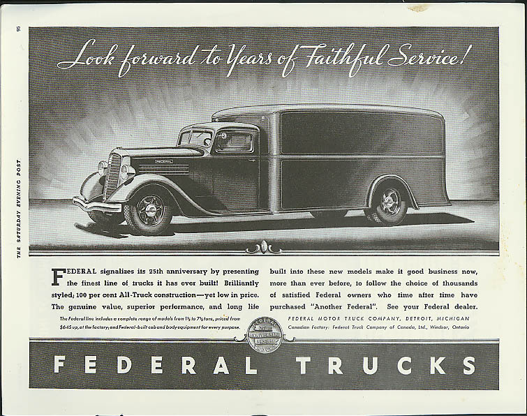 Look forward to Years of Faithful Service! Federal Closed Van ad 1935