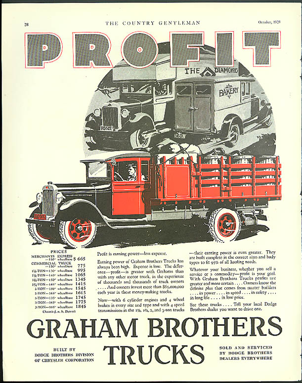 Profit is earning power - less expense Graham Brothers Truck ad 1928