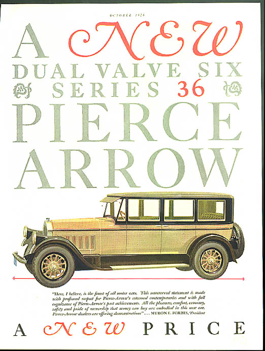 A New Dual Valve Six Series 36 Pierce Arrow ad 1927