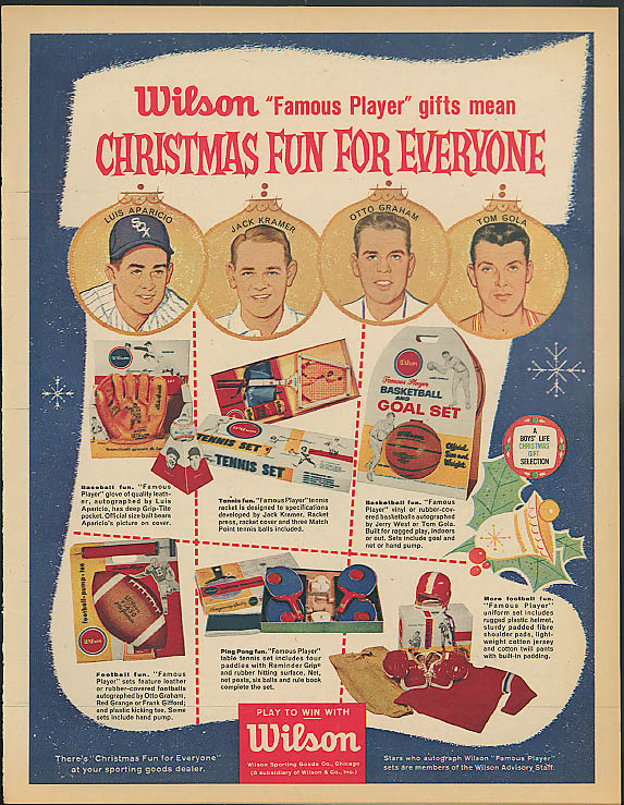 Image for Christmas fun! Luis Aparicio Jack Kramer Otto Graham Tom Gola Wilson ad 1961
