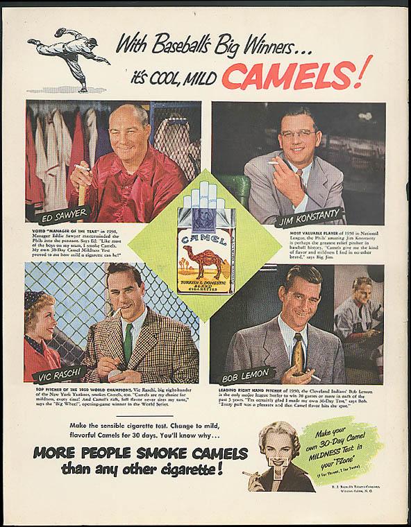Ed Sawyer Jim Konstanty Vic Raschi Bob Lemon For Camel Ciragettes Ad 1951
