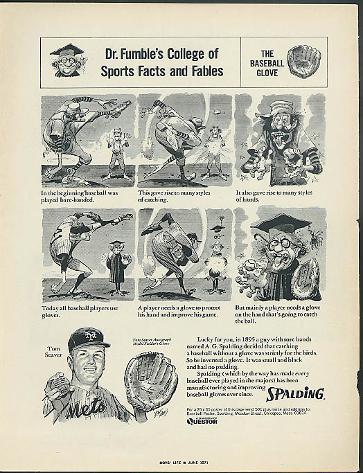 Dr Fumble's College of Sports Facts & Fables Tom Seaver for Spalding ad 1971