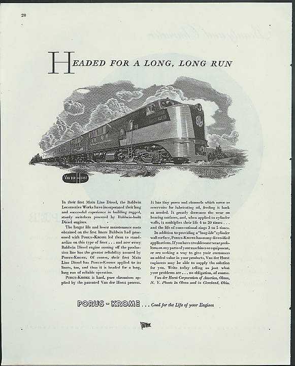 Headed for a long, long run Baldwin Locomotive Works Main Line Diesel ad 1945