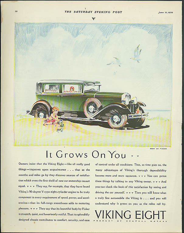 It Grows on You . . . Viking Eight 4-door sedan ad 1930