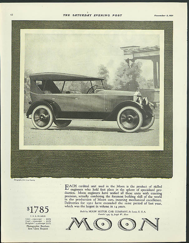 Each cardinal unit is the product of skilled engineers Moon Touring Car ad 1921