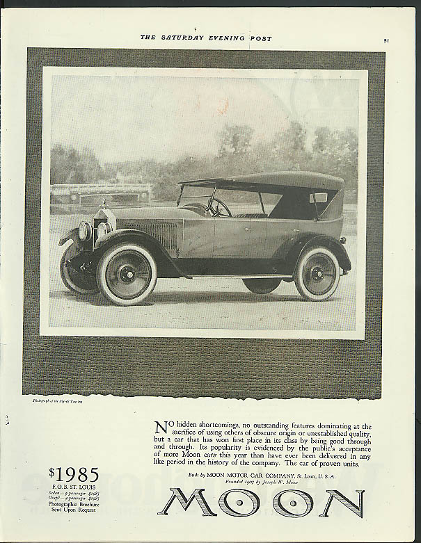 No hidden shortcomings at sacrifice of others Moon Touring Car ad 1921