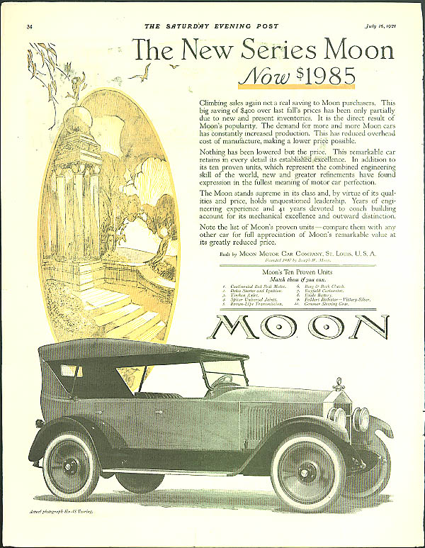 The New Series Moon Six-48 Touring Car Now $1985 ad 1921