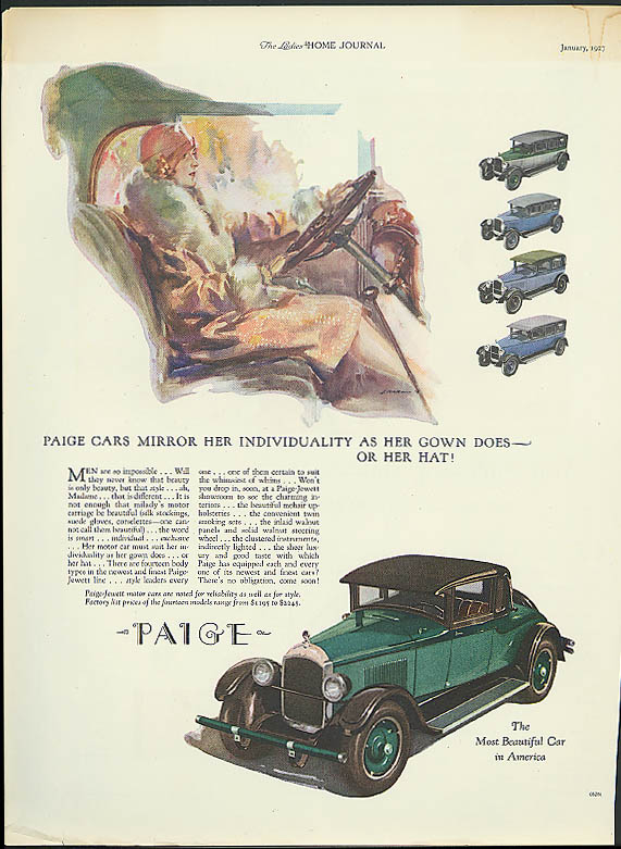 Paige Cars Mirror Her Individuality As Her Gown Does or Her Hat ad 1927