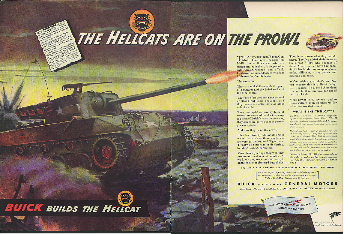 The Hellcats Are On the Prowl Buick 76mm Gun Motor Carriages ad 1944