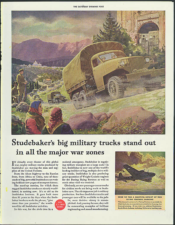 Studebaker's big military trucks stand out on major war zones ad 1943 B-17