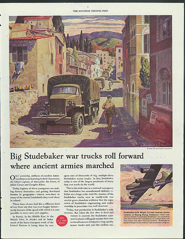 Big Studebaker war trucks roll forward where ancient armies marched ad 1944 B-17