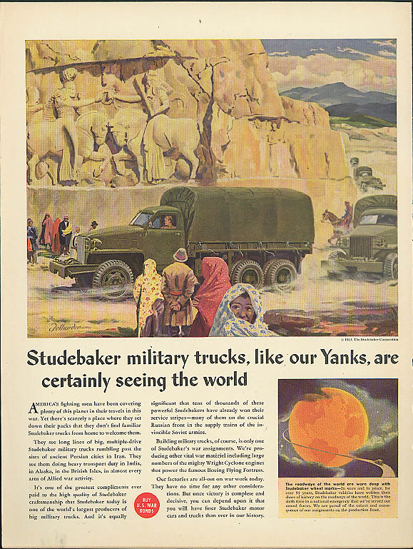Studebaker military trucks are certainly seeing the world ad 1943