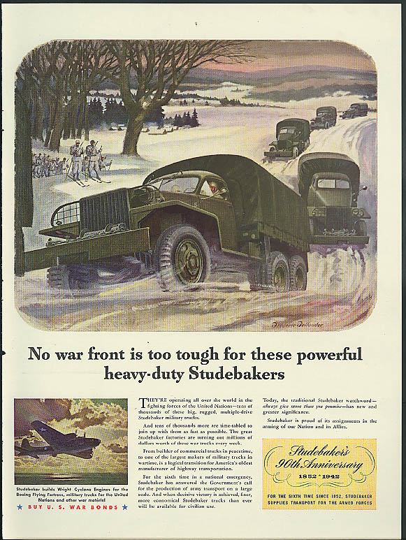 No war front is too tough for heavy-duty Studebaker trucks ad 1942