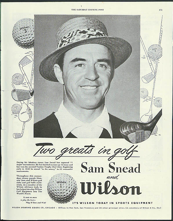 Golf champion Sam Snead for Wilson Sporting Goods ad 1952