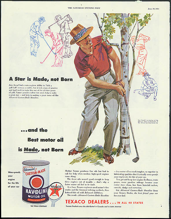 A Star is Made Sam Snead for Texaco Havoline Motor Oil ad 1954